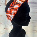 Bandeau en wax orange et blanc 150x150 - Bandeau orangé et blanc