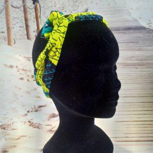 Bandeau en wax vert foret et jaune 300x300 - Collection Automne Hiver