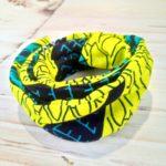 Bandeau en wax vert foret et jaune tissu 150x150 - Bandeau vert forêt et jaune