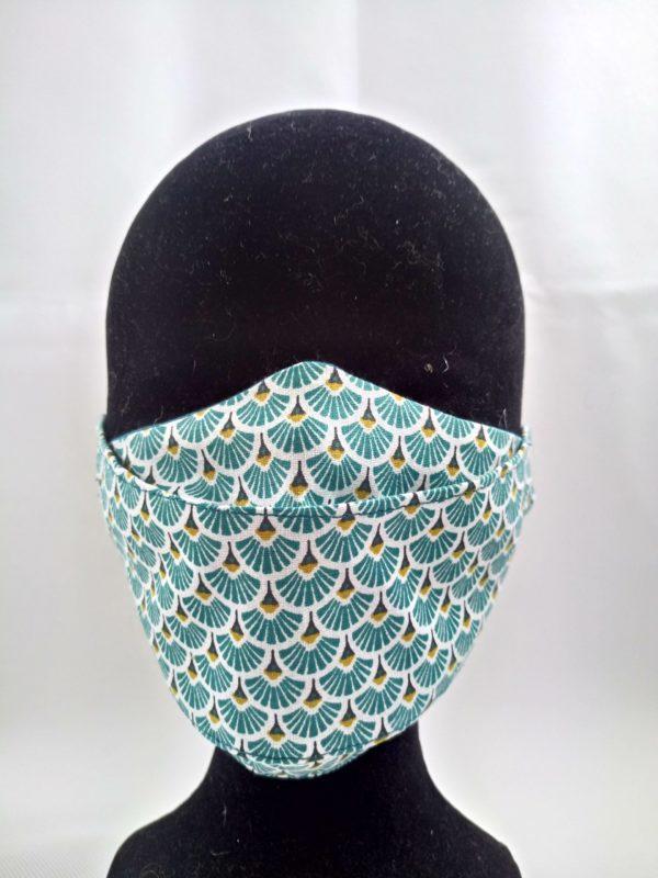 Masque en tissu motifs turquoises, doux , confortable et réutilisable