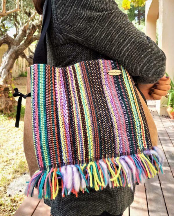 sac de ville rayé à franges THALIE, de l'allure et de l'originalité