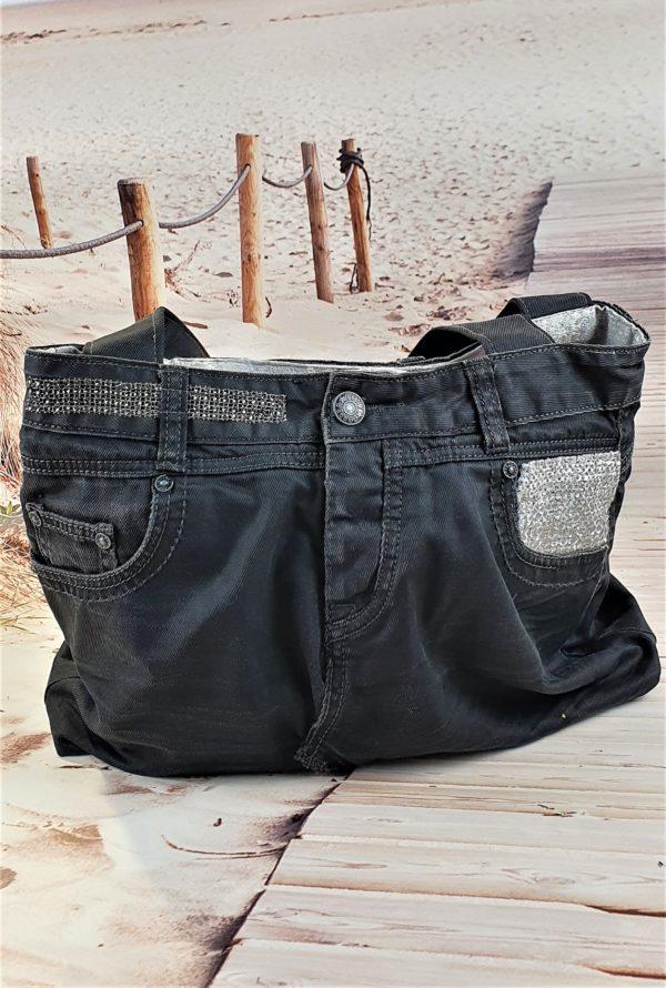 Sac en jean gris anthracite ASTRID, pièce unique de créateur fabriquée à Montpellier