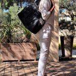 Sac en jean gris anthracite Astrid porte 150x150 - Sac en jean gris anthracite ASTRID
