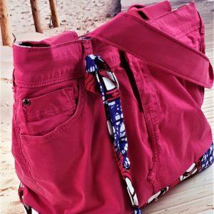 Sac en jean rose et wax Coralie 300x300 - Accessoires de mode pour femmes