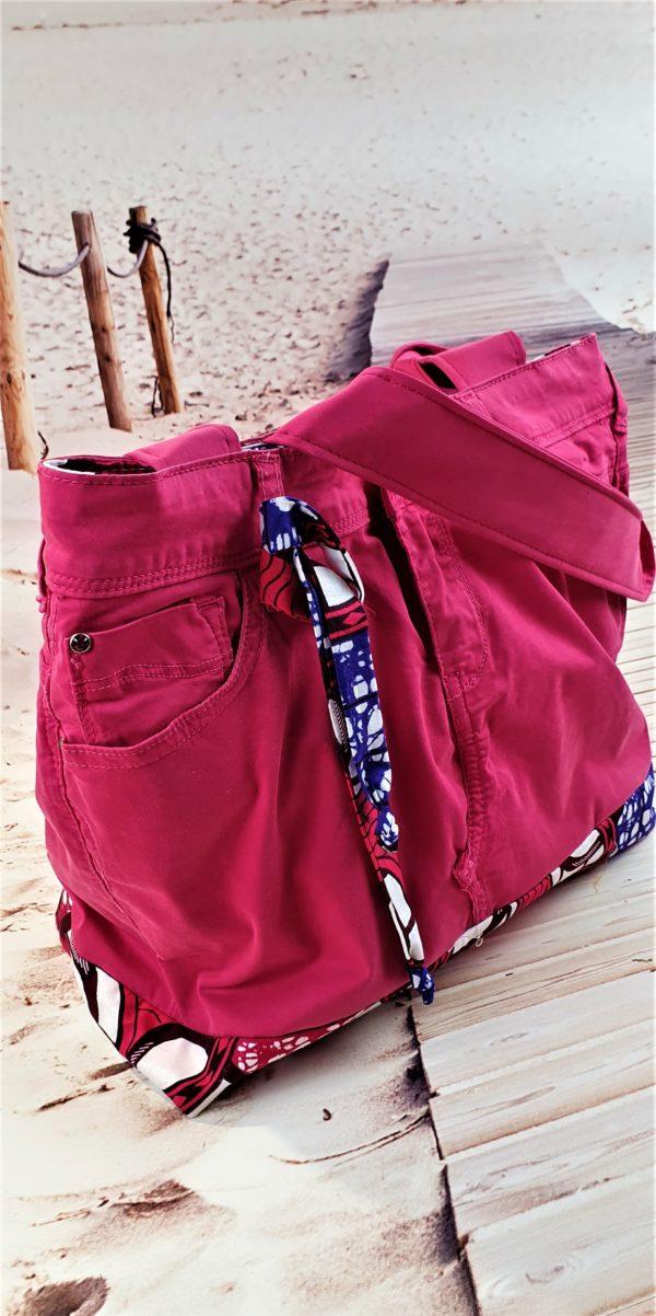Sac en jean rose et wax Coralie, pièce unique de créateur fabriquée à Montpellier