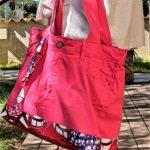 Sac en jean rose et wax Coralie a la main 150x150 - Sac en jean rose et wax CORALIE