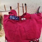 Sac en jean rose et wax Coralie de dos 150x150 - Sac en jean rose et wax CORALIE